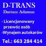 D-TRANS DARIUSZ ADAMUS PRZEWÓZ OSÓB WYNAJEM AUTOKARÓW KŁOBUCK