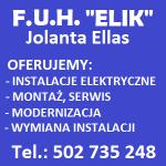"""FIRMA USŁUGOWO – HANDLOWA """"ELIK"""" JOLANTA ELLAS INSTALACJE ELEKTRYCZNE BOBOWO"""